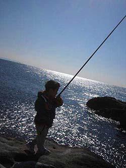 小磯でノベ竿の釣り